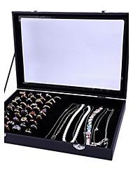 clássica capa dupla finalidade levantar acrílico papel caixas de jóias de flanela preta (1 pc)