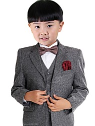 Boy's Dark Grey Suit (Jacket+Vest+Pants) Three-Piece Set Ring Bearer's Wear Kid's Ceremonial Suit B25