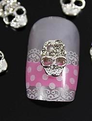 10шт серебро череп 3d горный хрусталь сплава ногтей украшения