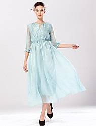 Women's Going out Swing Dress,Solid V Neck Midi ¾ Sleeve Blue Silk Spring / Fall