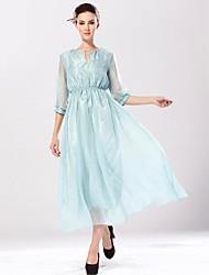 Damen Kleid - Swing Arbeit / Leger / Strand Solide Midi Seide V-Ausschnitt