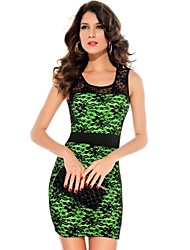 Women's Sexy Floral Lace Overlay and Fluorescent Fabric Underneath Dress