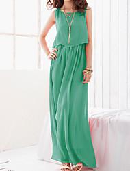 OULIYA Women'S Bohemian Chiffon Long Dress Green