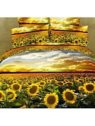 Shuian® Duvet Cover Set, 4 Piece Suit 100% Cotton Comfort Simple Modern Ventilation 3D Sunflower Pattern Full