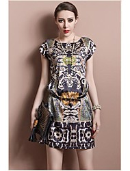 TS Print O Neck Short Sleeves Looser Woment's Organza Dress
