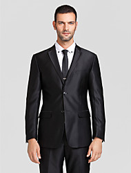 Suits Tailored Fit Slim Peak Single Breasted Two-buttons Polyester 2 Pieces Black Straight Flapped None (Flat Front) None (Flat Front)