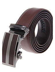 Men's Business Style Zinc Alloy Automatic Buckle Genuine Leather Belt