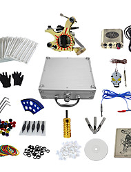 1 Gun Complete No Ink Tattoo Kit with Shader Tatoo Machine and Golden   Engraved Power Supply