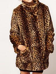 Women's Fashion British Sweet Leopard Faux Fur Coat