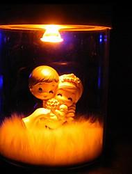 mini luce della tabella, 1 luce, vetro novità lettering stagno solare con bambola in resina