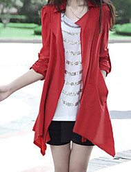 YiLuo Korean Style Casual Large Size Coat (Red)