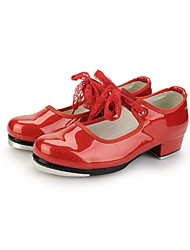Non Customizable Women's Dance Shoes Tap Leatherette/Patent Leather Low Heel Black/Red/White
