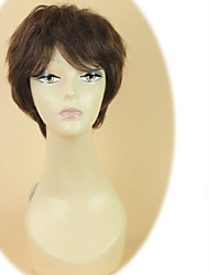 100% Human Hair Short Straight Side Bangs Capless Dark Brown Hair Wig