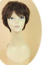 100% Human Hair Short Straight Side Bangs Capless Dark Brown Hair Wig