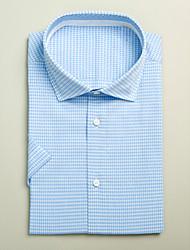 Light Blue&White 100% Cotton Short Sleeve Shirt