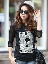 Women's Printed Skull Long Sleeve Buttons T-shirt