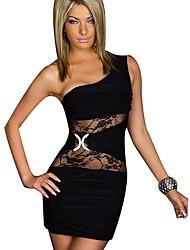 Women's One Shoulder Lace Bodycon Dress