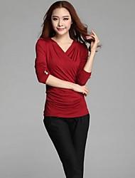 v-pescoço das mulheres da cintura colete elástico camisa de manga longa