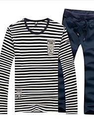 Men's Roune Neck Casual Long Sleeve Stripes T-shirts Suits