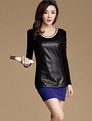 Women's Round Collar Pu Stitching Render Shirt