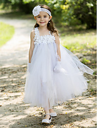 Ball Gown Ankle-length Flower Girl Dress - Rayon Square with Flower(s)