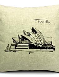 architecture célèbre coton / lin taie d'oreiller décoratif