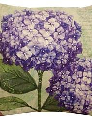 "createforlife® 18 ""retro elegante violetten Blüten Baumwoll-Leinen-Quadrat dekorative Kissen"