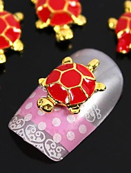 10pcs 3D Fashion Alloy Golden Tortoise With Red Turtle Shell Nail Art Decoration