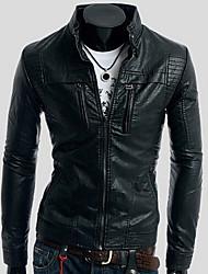 INMUR Schwarz Stehkragen Multi-Zipper Knopfverschluss Jacke