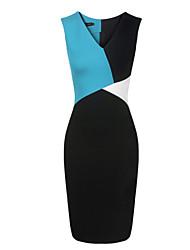 cd v cuello de color a juego vestido sin mangas de corte ajustado