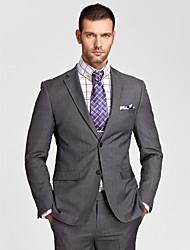 polyester gris coupe près du corps costume deux pièces