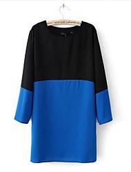 Women's Color Block Multi-color Dress , Casual Round Neck ¾ Sleeve