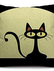 pouco algodão gato preto / capa de travesseiro decorativo linho