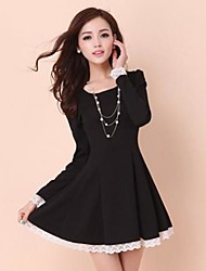 Women's Casual/Daily A Line / Skater Dress,Solid Round Neck Above Knee Long Sleeve Black / Yellow Fall