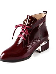 Women's Fall / Winter Fashion Boots Patent Leather Casual Chunky Heel Lace-up Black / Blue / Red / White