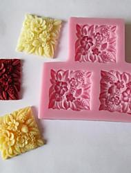 квадратный цветочный помадкой торт шоколадные конфеты плесень, l9cm * w8.5cm * h1cm