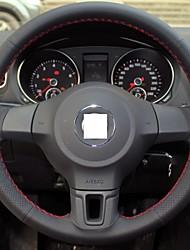 Xuji ™ véritable couverture de volant en cuir noir pour Volkswagen Golf 6 MK6 vw polo Sagitar bora santana jetta