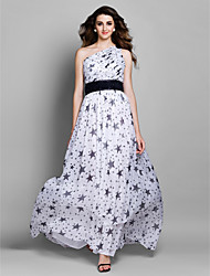 Prom / Formal Evening Dress - Print Plus Sizes / Petite Sheath/Column One Shoulder Floor-length Chiffon