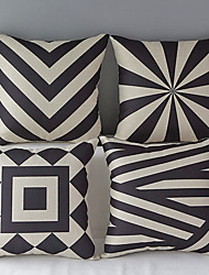 Set of 4 Modern Geometric Cotton/Linen Decorative Pillow Cover
