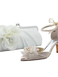 Damenschuhe Spitzschuh Pfennigabsatz Satin pumpt Schuhe passenden Satin-Abendtasche