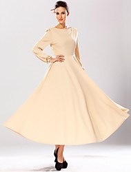 Women's Going out Vintage Swing Dress,Solid Round Neck Maxi Long Sleeve Beige / Green Linen / Polyester Spring / Fall / Winter