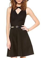 Women's Formal Sexy A Line / Skater Dress,Solid V Neck / Asymmetrical Above Knee Sleeveless Black Summer