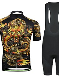 Men's Spring Summer and Fall Style China Dragon Black Cycling Jerseys Bib Shorts Suits with Pocket