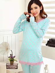 Maternity and Nursing Overall Clothes Long Sleeve Pajamas Set Knitted Cotton Nightgown Suit