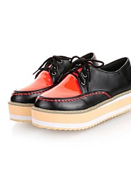 Women's Shoes Round Toe Platform Heel Patent Leather Oxfords with Lace-up Shoes More Colors available