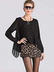 Women's Plus Size / Sexy / Cute Spring / Fall / Winter Blouse,Leopard Round Neck Long Sleeve Black / Brown Others Medium