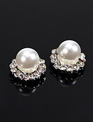 10pcs Vintage Design Ball Pearl Beads with Crystal Rhinestones 3D Alloy Nail Art Decoration