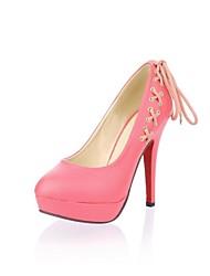 Damenschuhe runde Kappe Plattform Pfennigabsatz Pumpen Schuhe mit Spitzen-up mehr Farben erhältlich