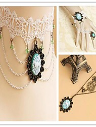 Noble Lady with Green Artificial Stone Classic Lolita Accessories Set(Bracelet/Necklace/Sweater Chain)