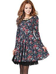 vestido de tejido de punto bordado de impresión de las mujeres JDE